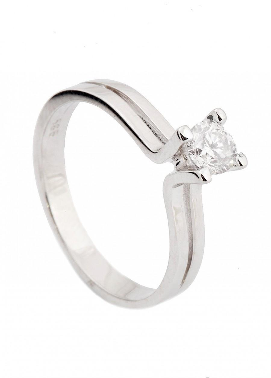 Hochzeit - Diamond Engagement Ring, Solitaire 14K White Gold Ring, 0.19 Carats  Women Jewelry, Promised ring, natural diamond