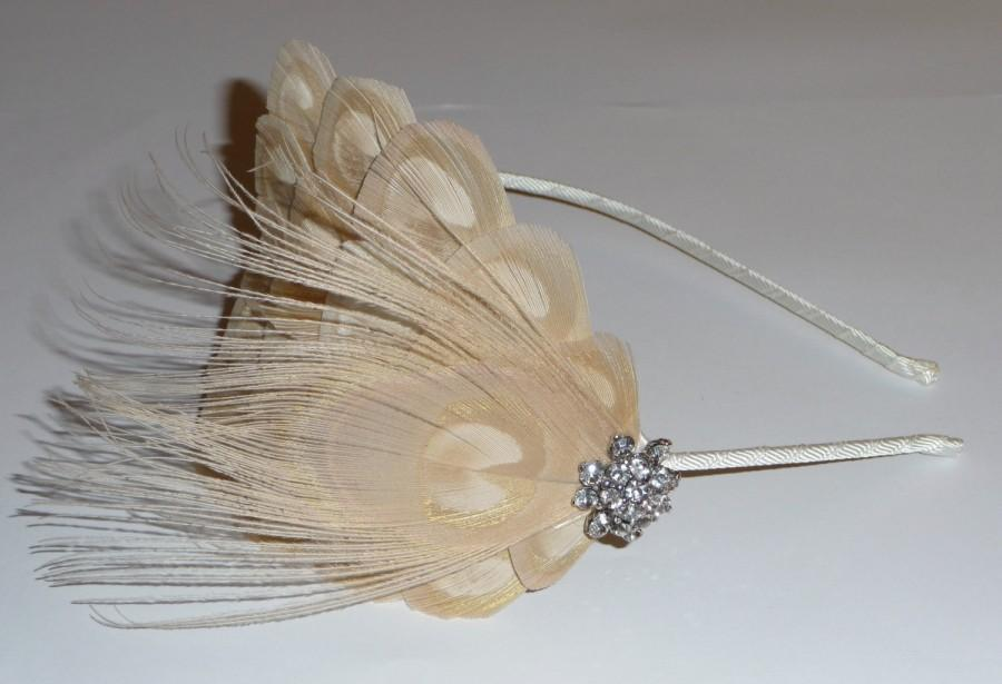 Свадьба - Pale Gold Bleached PEACOCK EYE Feather Headband Crystal Fascinator Wedding Bridal Bridesmaids Hair Accessory