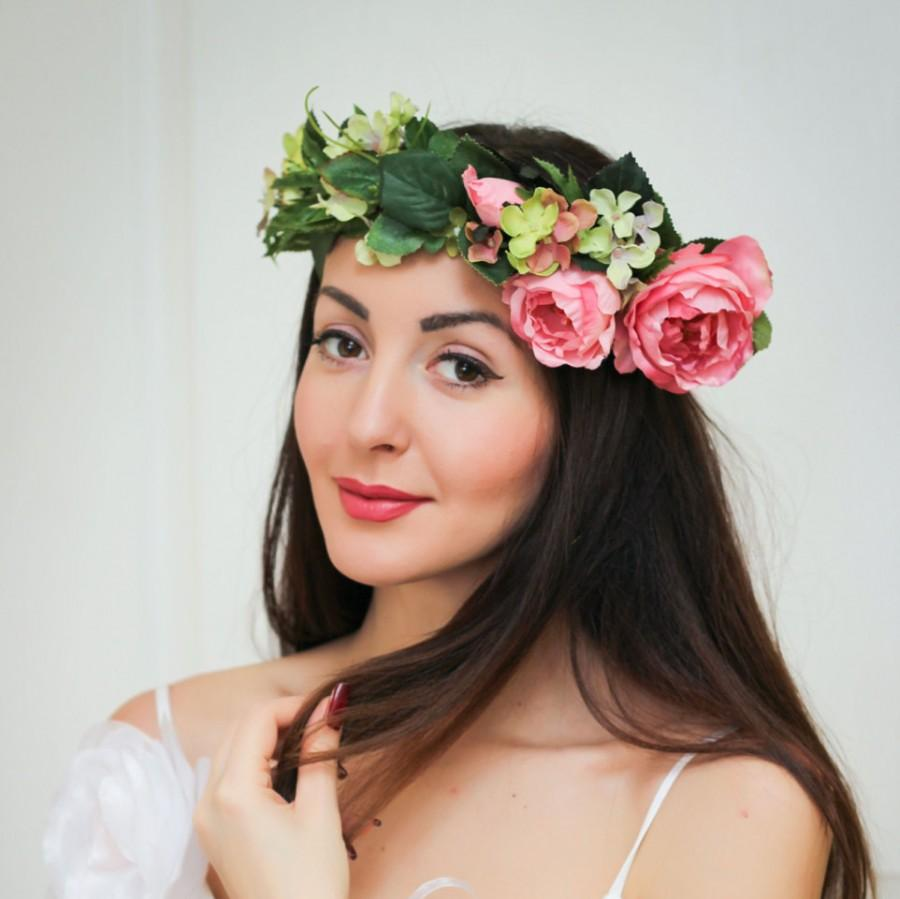 Mariage - Bridal floral crown , Flower headband, Bridal headband ,Peony flower crown,Flower wreath ,Pink Floral crown ,Boho floral crown