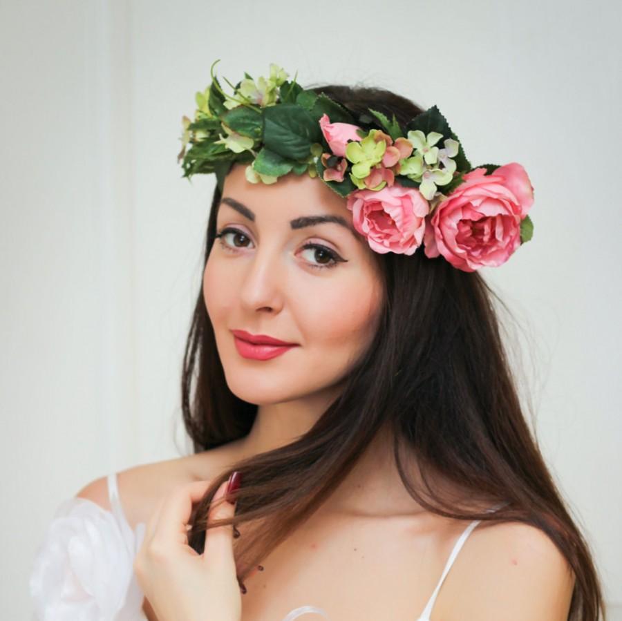 Bridal Floral Crown Flower Headband Bridal Headband Peony Flower