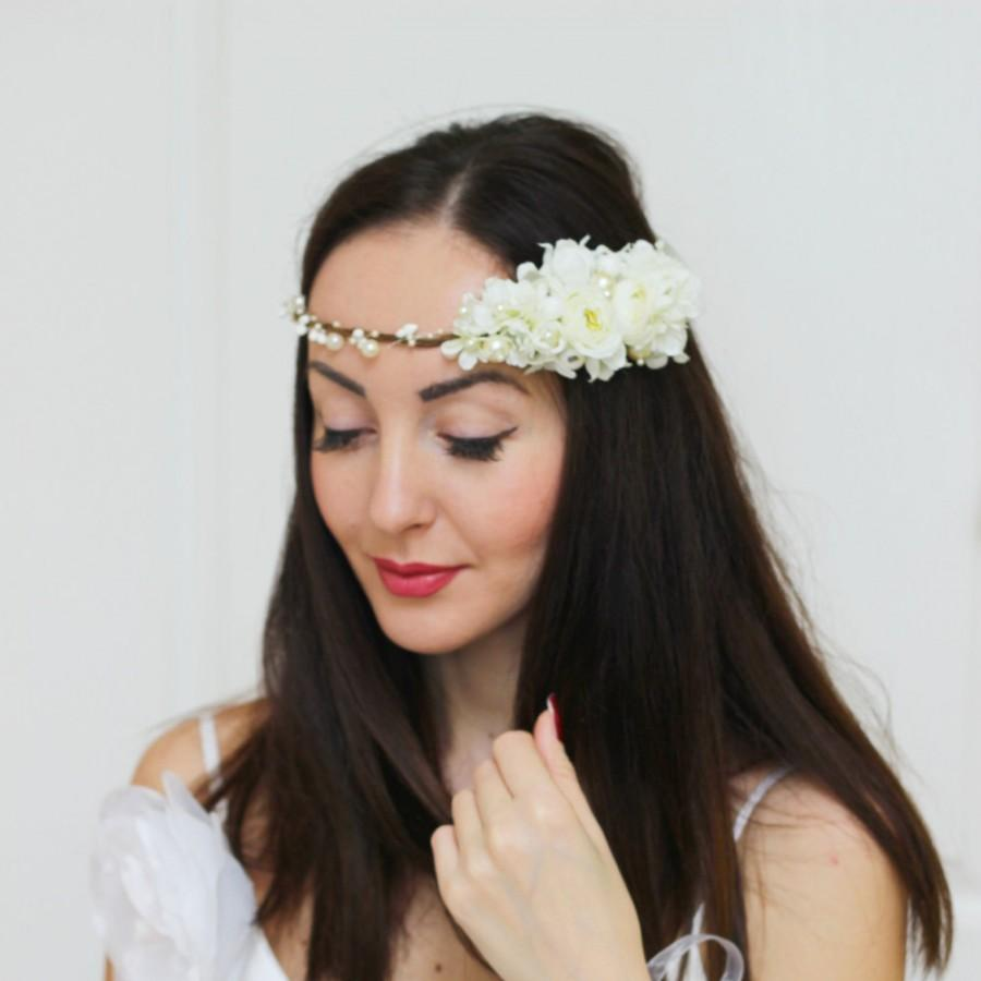 Bridal Floral Crown Flower Headband Bridal Headband Cream Flower