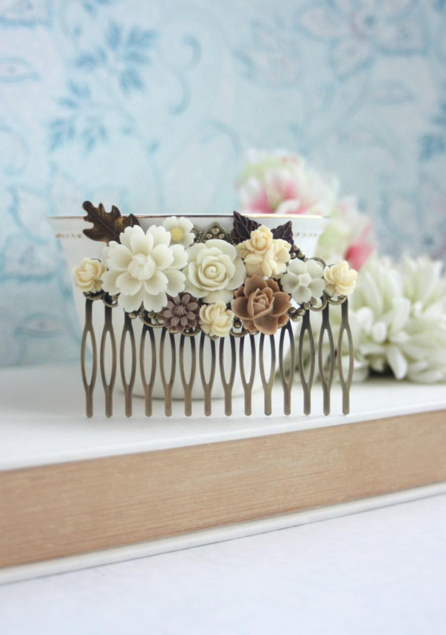 Mariage - Fall Flower Wedding Comb. Nature, Brown, Ivory Rose, Oak Leaf Flower Hair Comb. Bridesmaids Gift. Ivory and Brown, Rustic Country Wedding