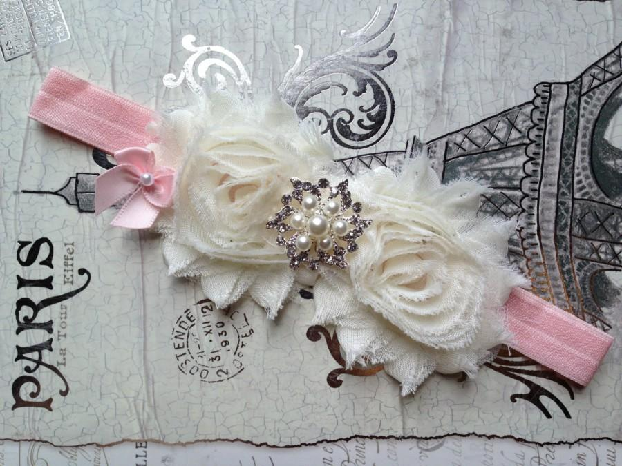 Mariage - Ivory Flower Girl Headband, Ivory Pink Flower Girl Hair Accessory, Ivory Flower Girl Head Piece, Ivory Baby Wedding Headband, Head Wreath