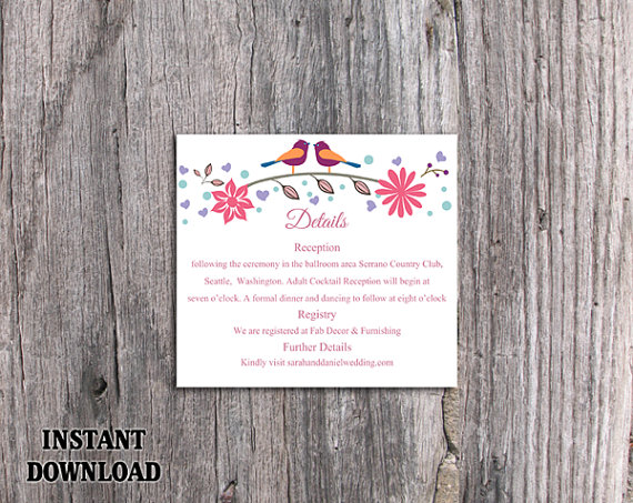 Wedding - DIY Wedding Details Card Template Editable Word File Download Printable Details Card Floral Colorful Details Card Bird Enclosure Cards
