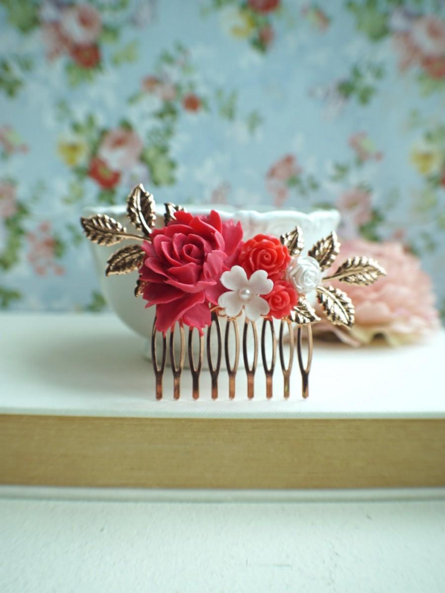 Pink Red Flower Rose Gold Comb White And Red Rose Gold Comb