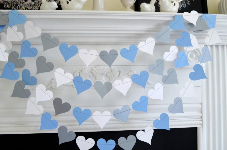 Mariage - Silver Blue  White Heart Garland, Baby boy decorations, bridal shower decorations, Wedding Garland, wedding Decor, You pick the color