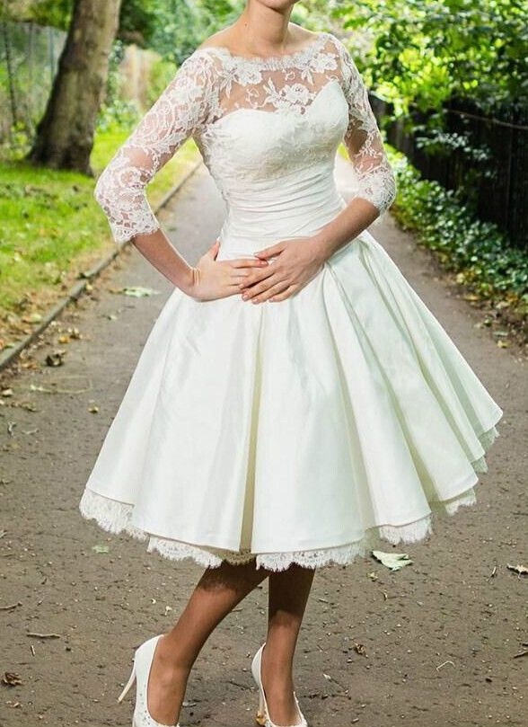 Vintage tea length white ivory lace wedding dress 2612460 for Ivory lace wedding dresses vintage