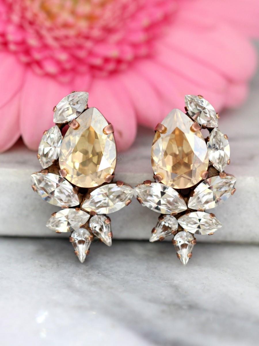 Champagne Earrings, Champagne Swarovski Cluster Earrings, Bridal ...