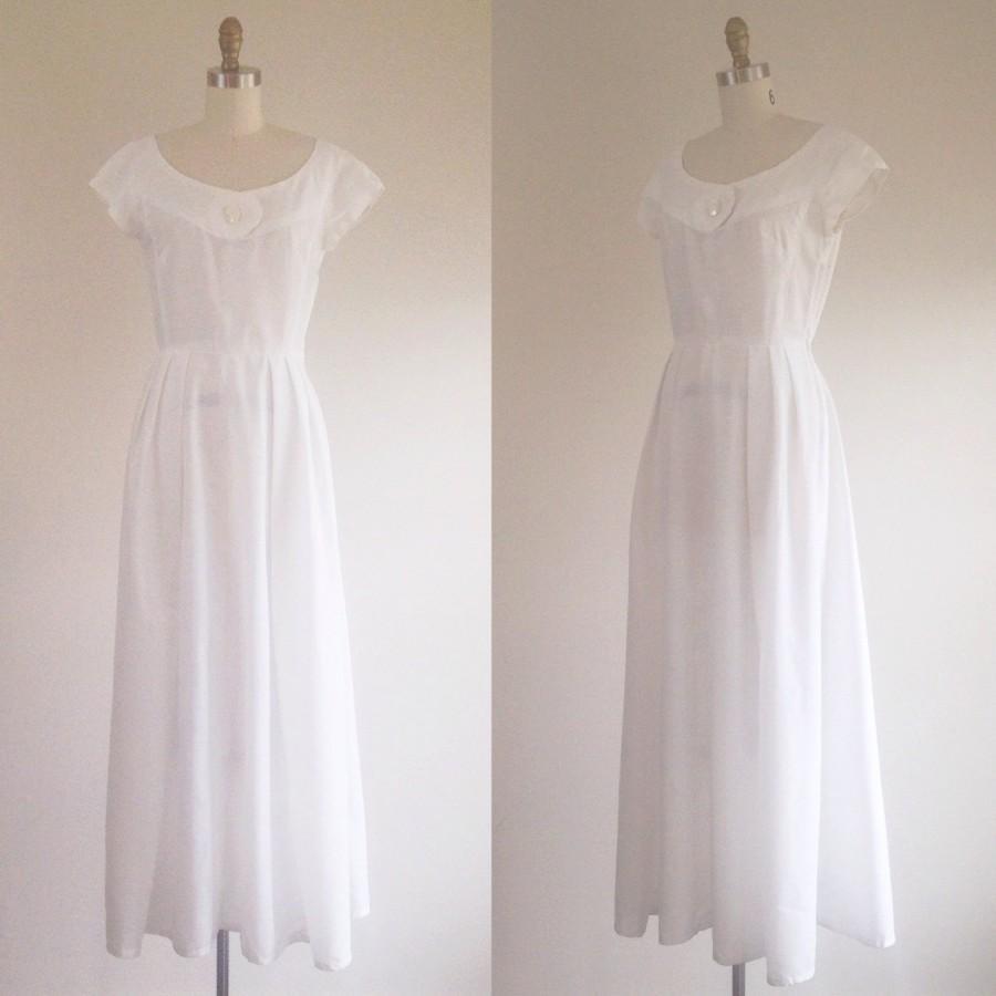 زفاف - White wedding dress- Simple wedding dress- White gown- Cotton wedding dress- Beach wedding dress- Preppy wedding- Vintage bridal