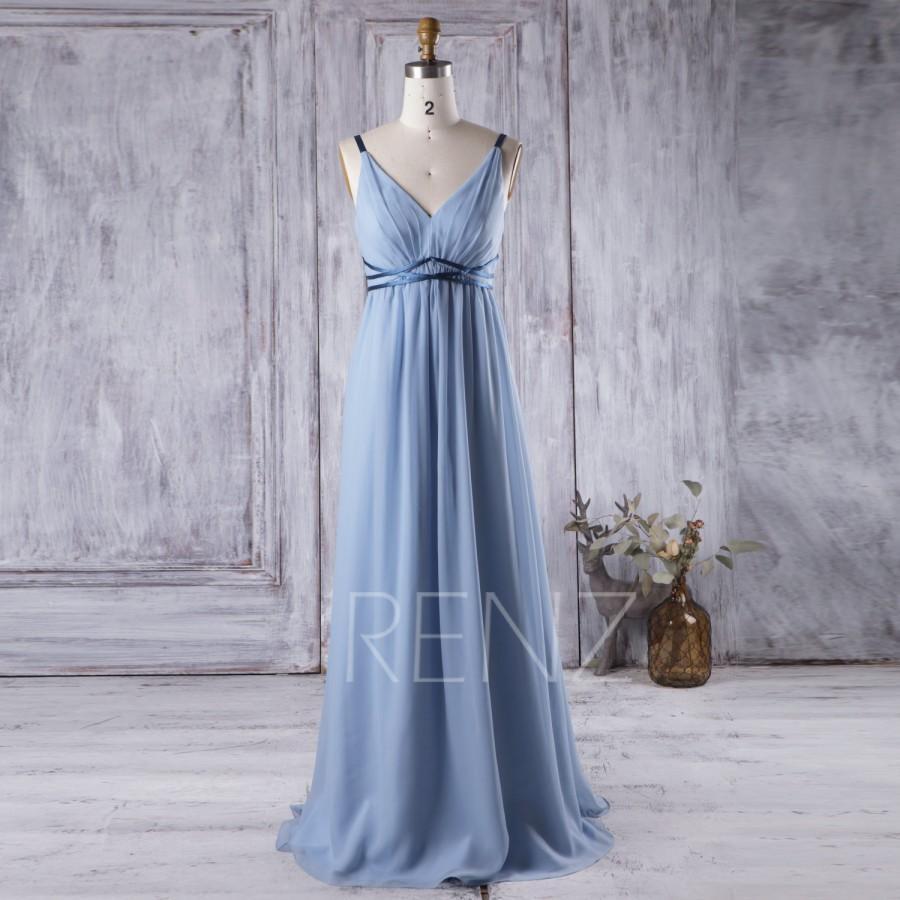 Wedding - 2016 Light Blue Bridesmaid Dress Empire Waist, V Neck Wedding Dress, Long Chiffon Evening Dress, Women Formal Dress Floor Length (L137)