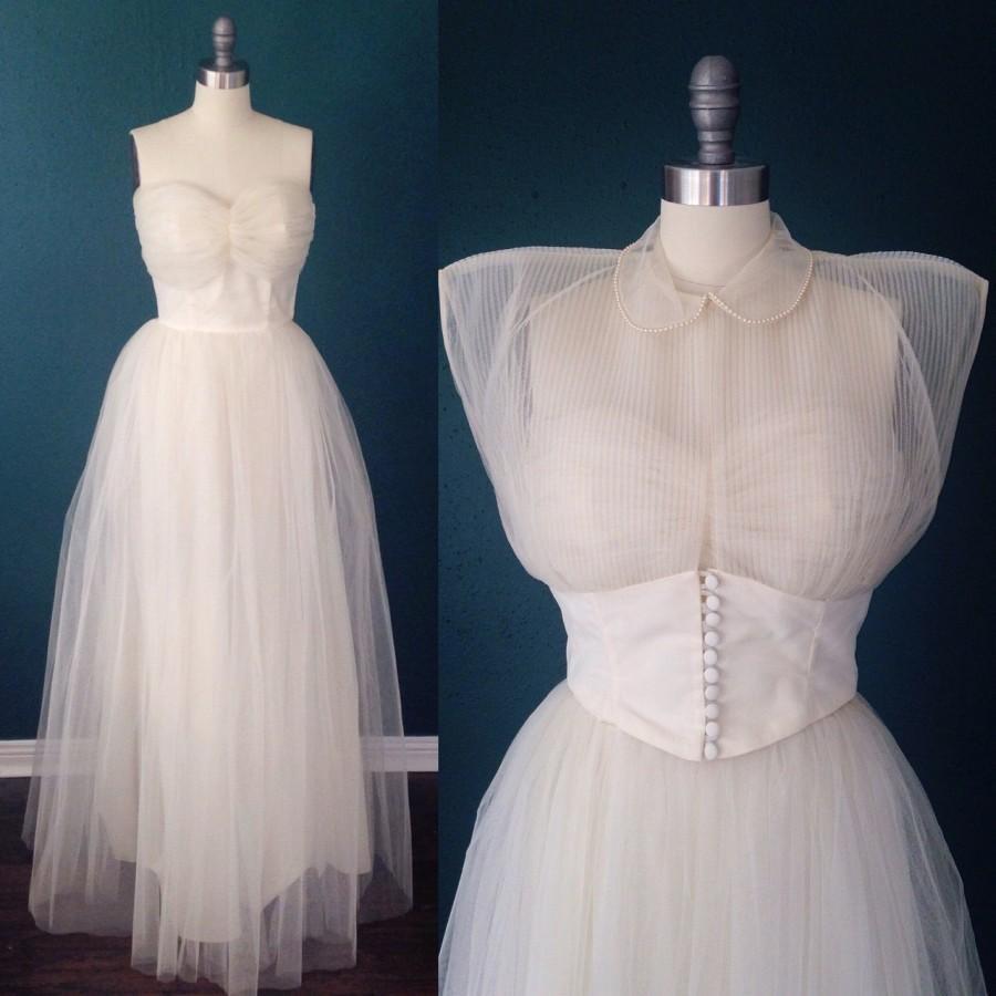 Свадьба - Ivory wedding dress-Tulle wedding dress-Strapless wedding-Sweetheart bridal-1950s wedding dress- Ballerina wedding- Vintage bridal- XS