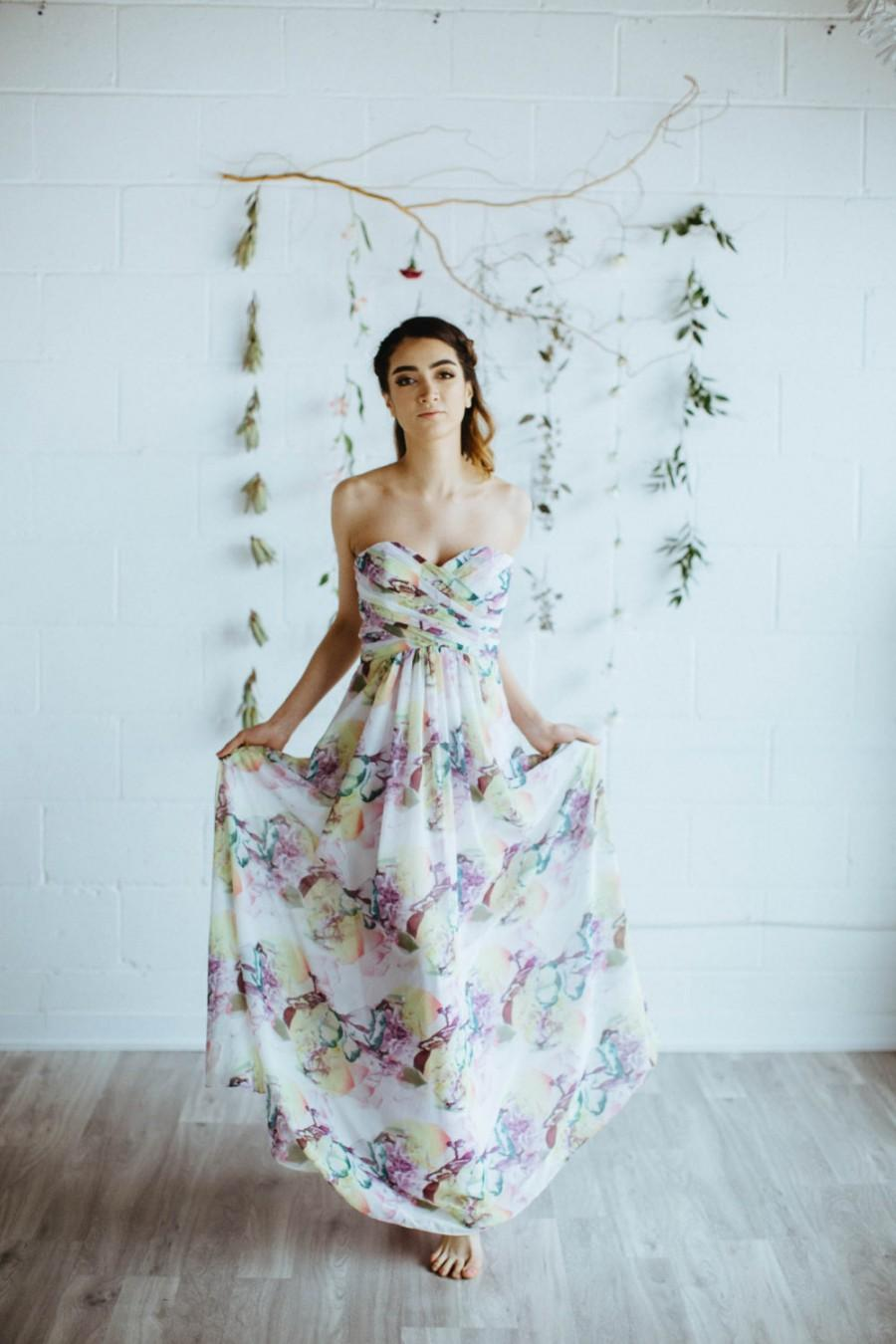 Свадьба - Floral Print Bridesmaid Dress, 'ARIE', Strapless Sweetheart Gown with Bodice Pleating, Removable Straps, Summer Wedding Dress