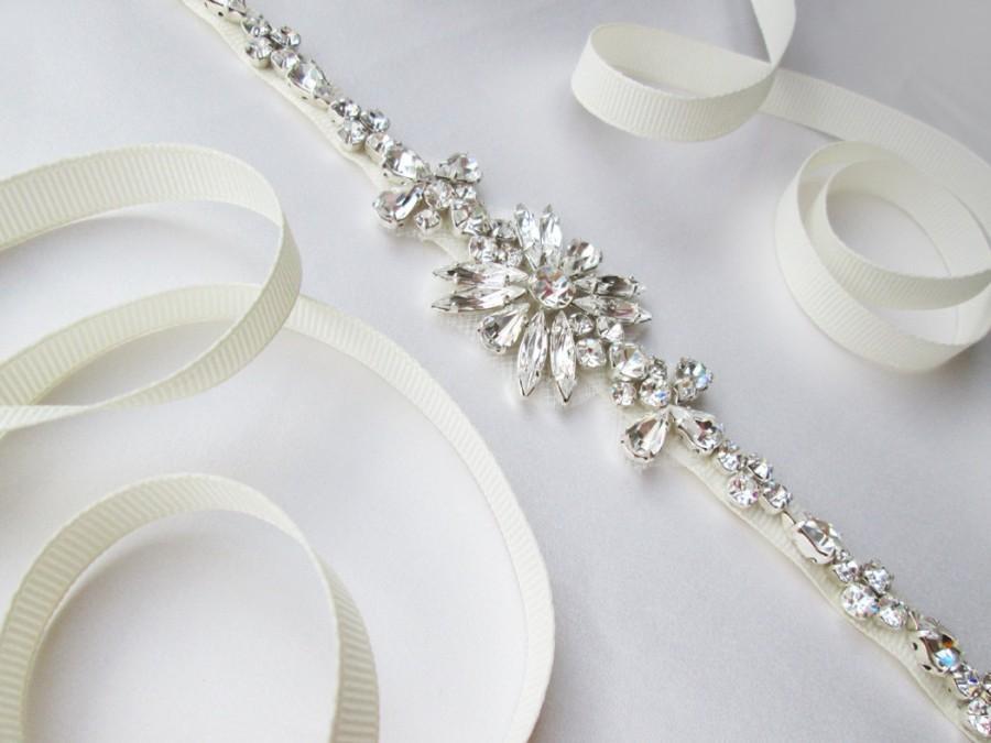 Свадьба - Bridal belt sash, Skinny bridal crystal sash, Wedding belt sash, Crystal belt, Rhinestone bridal belt, Skinny bridal belt sash
