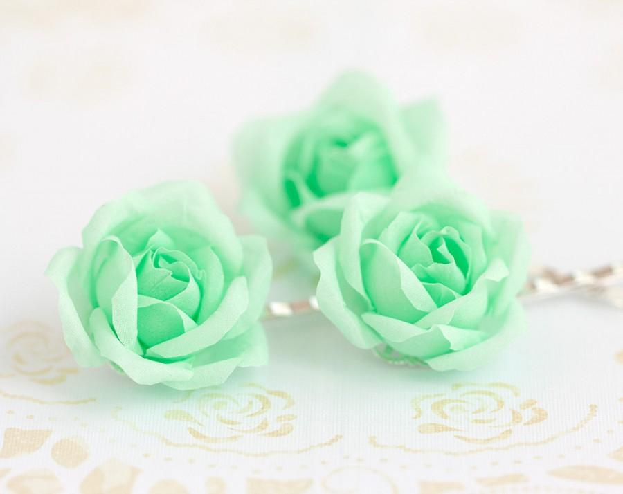 Свадьба - 71_Mint hair accessories, Mint flower, Green hair flower, Floral pins, Bridal hair flower, Bridal hair flower, Mint flower hair, accessory