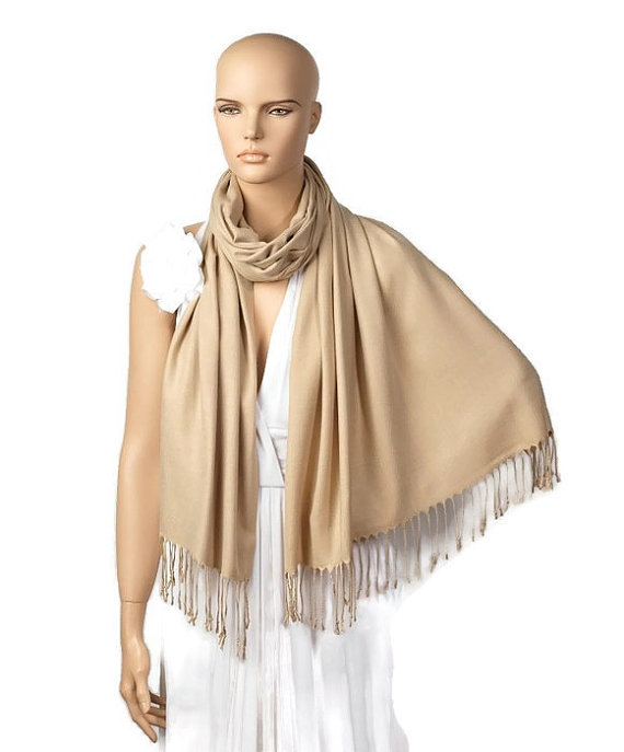 زفاف - Beige Shawl, Wedding Shawl, Camel Pashmina, Wedding Favor, Bridal Wrap, Bridesmaid Shawl, Bridesmaid Gift, Solid Color Scarf, Wedding Scarf