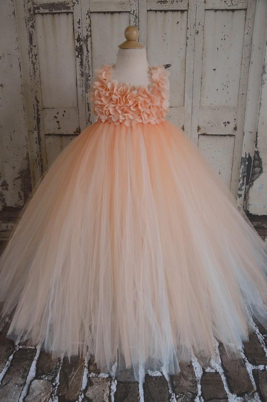 Mariage - NEW petal  peach chiffon hydrangea flower girl tutu dress