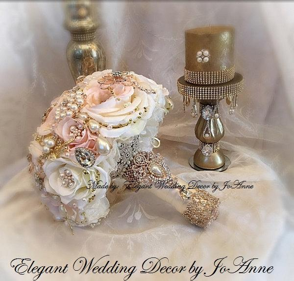 Mariage - PINK AND GOLD Jeweled Bouquet - Deposit for a Custom Pink Ivory Gold, Rose Gold Brooch Bouquet, Gold Brooch Bouquet, Custom Brooch Bouquet