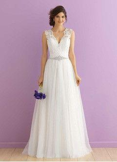 fbd6ede73b A-Line Princess V-neck Court Train Tulle Wedding Dress With Beading  Appliques Lace