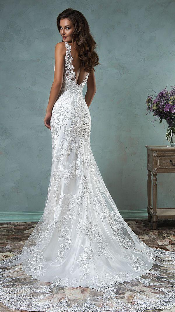 Gallery amelia sposa 2016 wedding dresses lace strap v for Satin fit and flare wedding dress