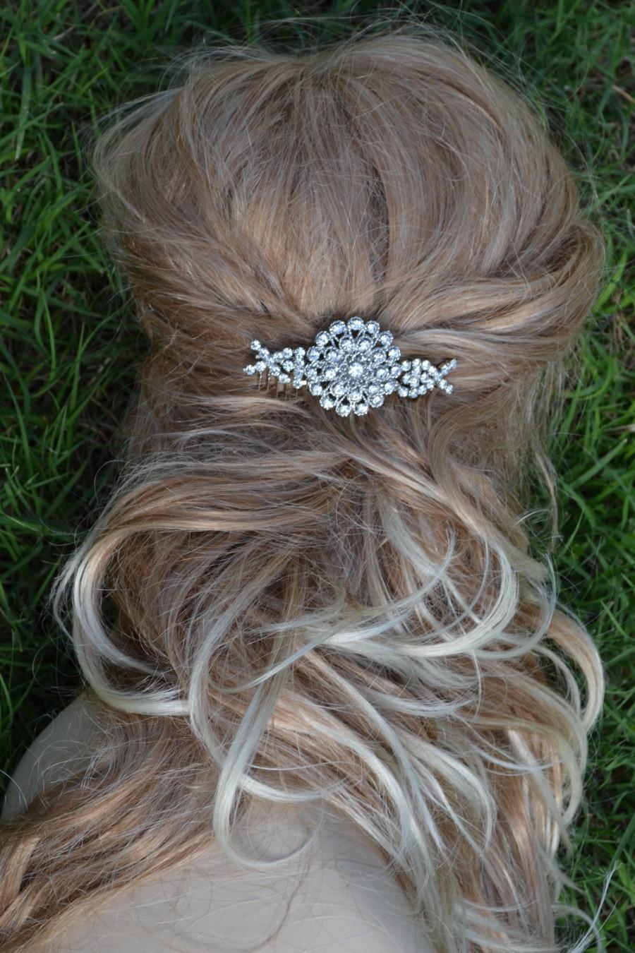 Hochzeit - Adelina Vintage style Swarovski crystal elegant bridal hair comb