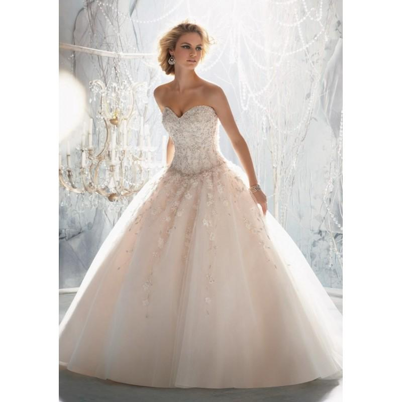Mori lee 1970 drop waist beaded ball gown wedding dress for Mori lee wedding dress sale