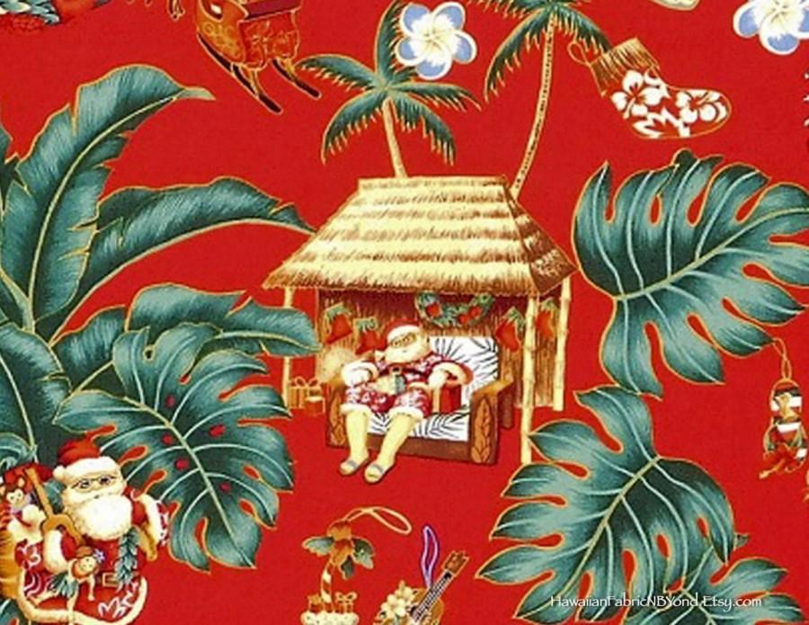 Boda - Christmas Tropical Fabric, Santa Clause, Santa in Aloha Shirts, Hawaiian Fabric, Red, HCN9766, Ask for bulk