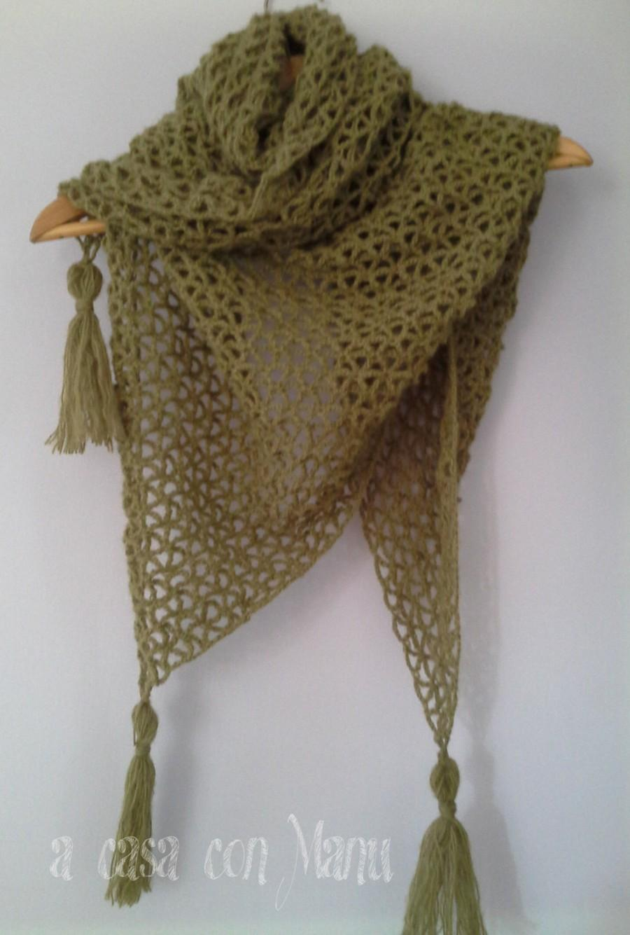 Mariage - Caldo scialle in lana, warm shawl in wool, dark green,  shawl, crocheted shawl, handmade, made in Italy