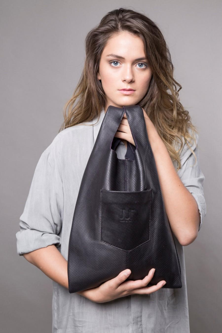 Boda - Black leather tote - women leather bag SALE soft leather handbag - leather shoulder bag - shopper bag - black leather bag