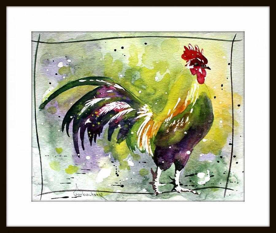 Rooster Art   Watercolor Painting   Rooster   Wall Decor, Wall Art