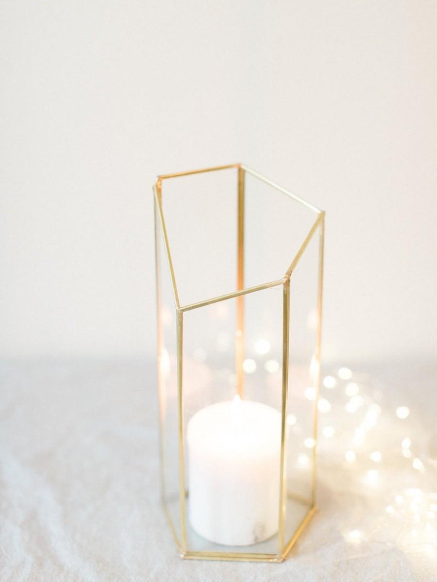 Large Geometric Vase - Centerpiece - Home Decor - Modern Home - Gold ...