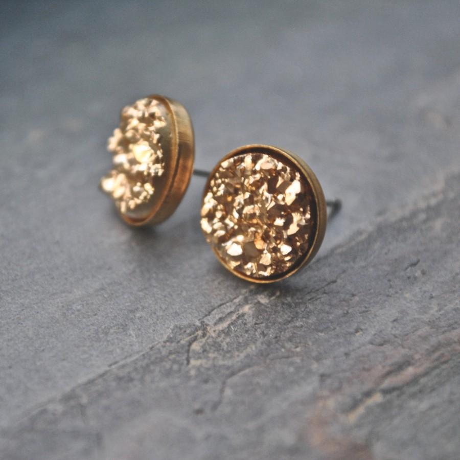 زفاف - Gold Druzy Stud Earrings Bridesmaid Jewelry Bridal Party