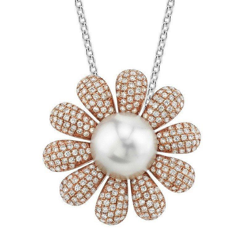 Свадьба - Black Friday 2016 Cyber Mnday Gifts Pearl & Diamond Flower Pendant 18k Rose Gold