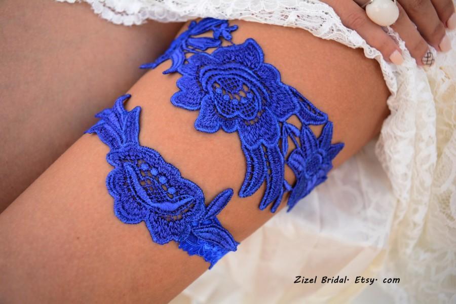 Свадьба - Cobalt Blue Garter, Wedding Garter, Blue Wedding Garter, Wedding Garter Set, Something Blue, Wedding Garter Blue, Blue Garters, Lace Garters
