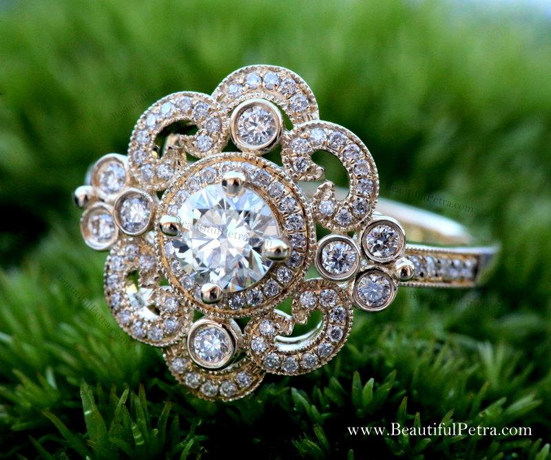 Wedding - DUCHESS - 14k yellow, white, rose gold - Floral - Round Diamond Engagement Ring or RIGHT Hand Ring - Weddings- Brides - Luxury - Bp0012