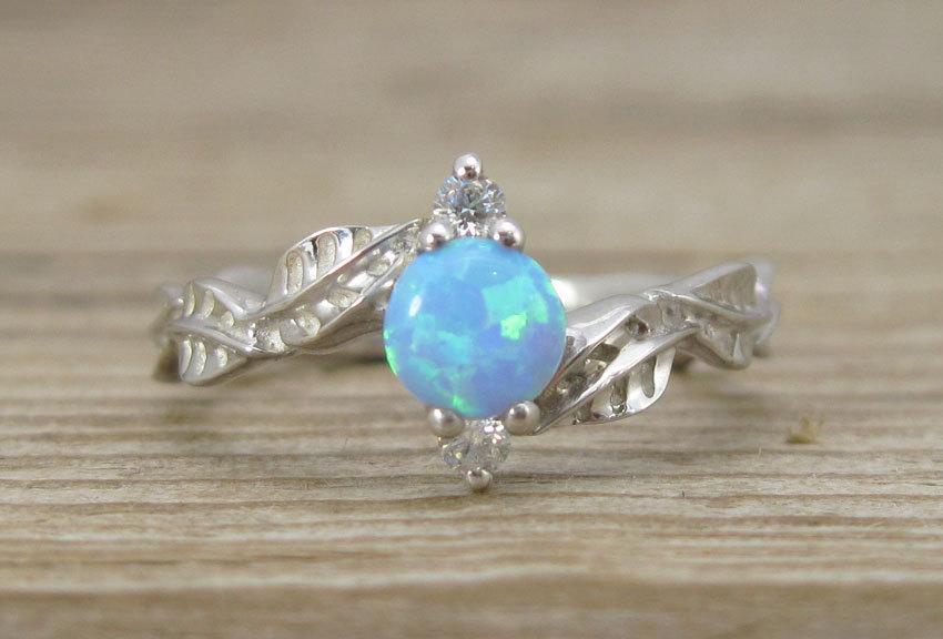 Mariage - Leaf Engagement Ring, opal Leaf Engagement Ring, Opal Leaf Ring, Leaves Ring, Natural Floral Engagement Ring, Opal ring