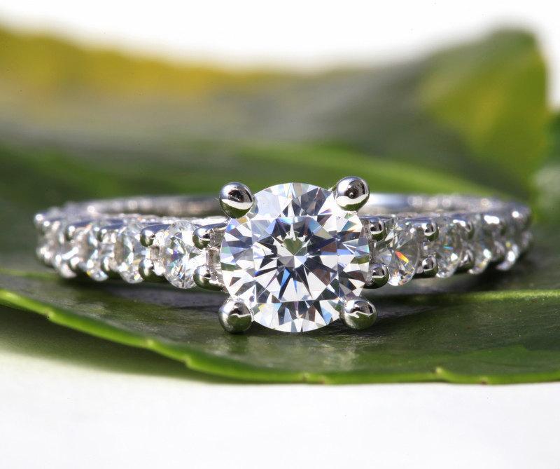 Wedding - 2.71 carats - Round cut Diamond Engagement Ring - 14k White gold-  weddings - brides - Bp008