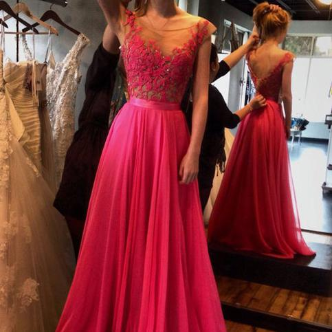Wedding - Gorgeous Fushisa Long Chiffon Cap Sleeves Prom Party Dress with Lace from Tidetell