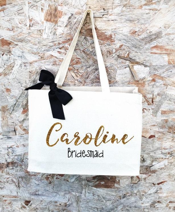 Свадьба - Bridesmaid Tote, Bridesmaid Gift, Bridesmaid Gift Idea, Bridesmaid Bag, Destination wedding gift, Bride Team tote, Bride tote, Wifey