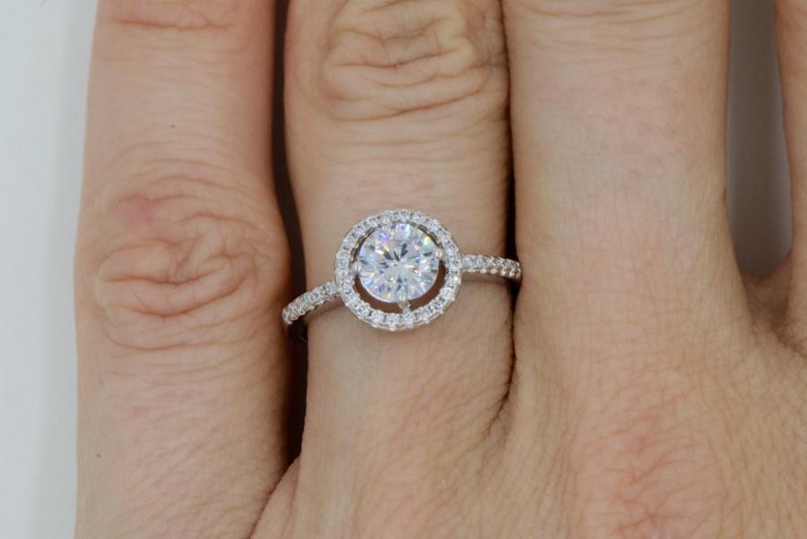 زفاف - White Round Cut Micro Pave CZ Halo Engagement Ring Sterling Silver With Cubic Zirconia Bridal Engagement Promise Ring