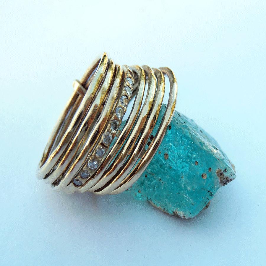 زفاف - Diamond multi band stacking rings.  Diamond pave setting  Ring.Delicate  14k gold and a Diamond ring.Wedding Band.Engagement Ring