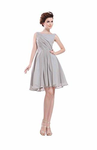 Hochzeit - Angelia Bridal Women's Gray Square Neck Short Sleevless Chiffon Prom Dress (Size 8)
