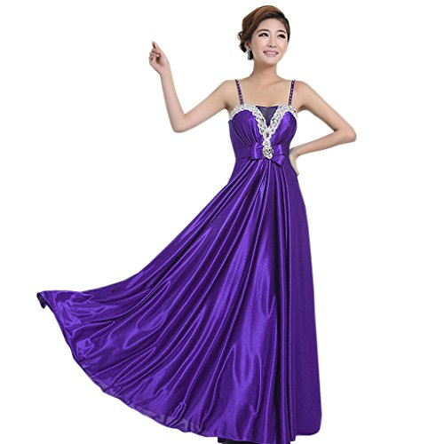Свадьба - Angelia bridal Shoulder Straps Floor Length Satin Prom Bridesmaid Dress Long Evening Gown (Dark Purple 8)