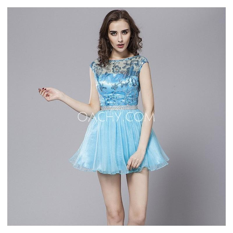 Wedding - Sweet Illusion Short Sleeve Ball Gown Mini Cocktail Dress Sequins 2017 - OACHY The Boutique