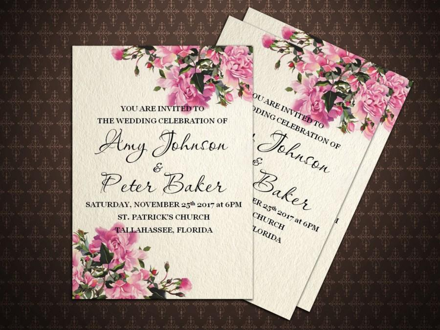 Свадьба - Floral Wedding Watercolor Invitation Printable, Rustic DIY, Digital File, s-036