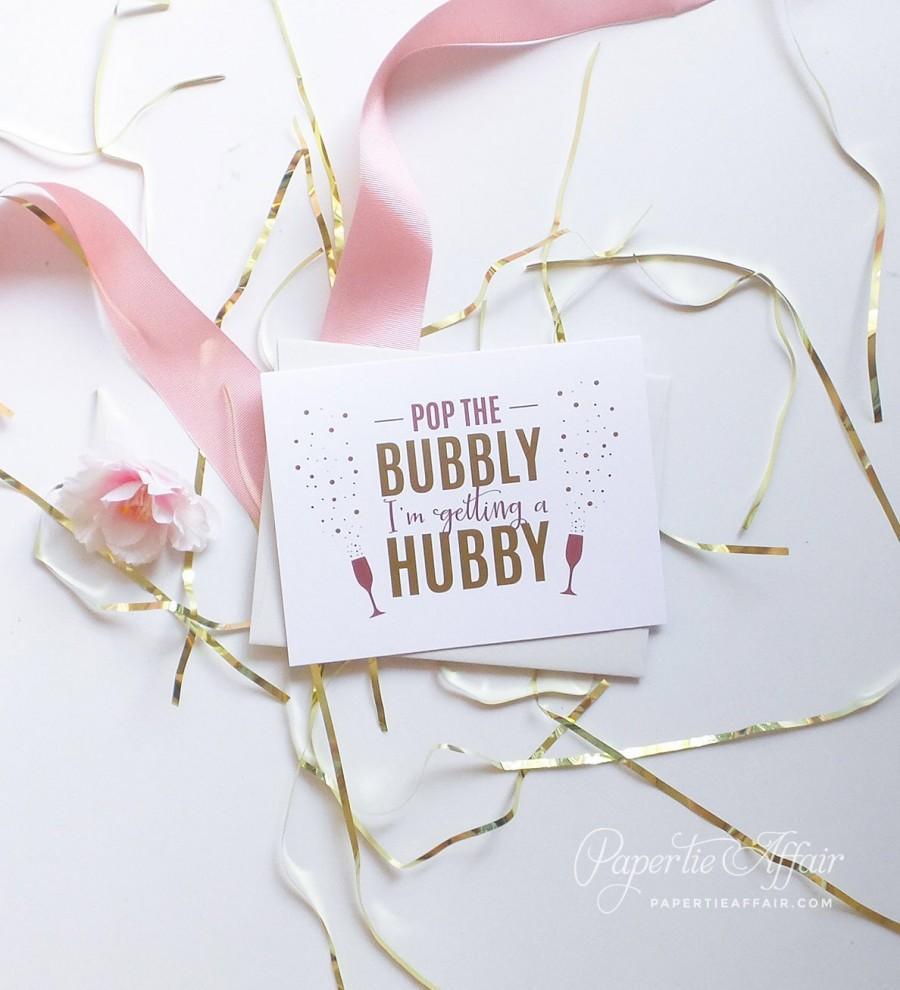 زفاف - Cute Will You Be My Bridesmaid Cards - Bridesmaid Proposal - Be My Maid of Honor - Pop The Bubbly I'm Getting a Hubby - Pink and Gold Foil