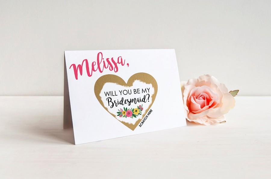 زفاف - Scratch-off SET OF 4 or more Will you be my Bridesmaid Cards - Maid of Honor, Matron of Honor, Bridesmaid Ask Card with Metallic Envelope