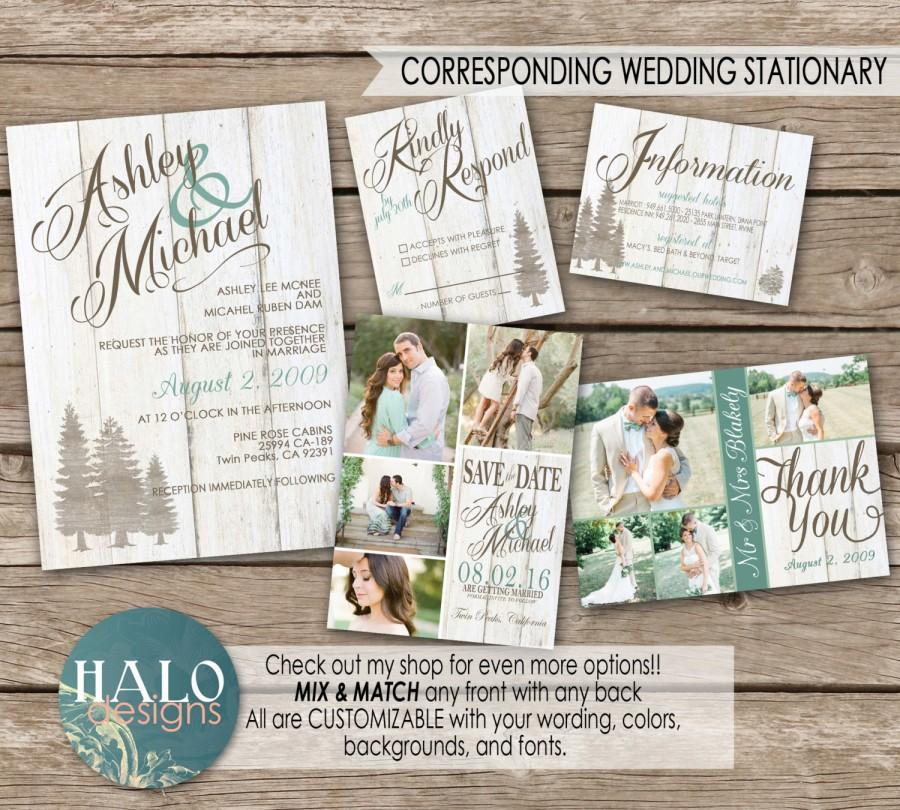 Свадьба - Rustic Mountain Wedding Invitaiton, Save The Date, Invitation Kit, Thank You Card, Printable, Postcard
