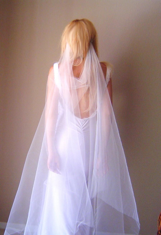 Свадьба - Draped Veil -- ANY LENGTH - drape Plain cut edge veil Vintage Inspired 1 Tier 1t veil wedding Bridal Cathedral length 1930's 1920's wedding
