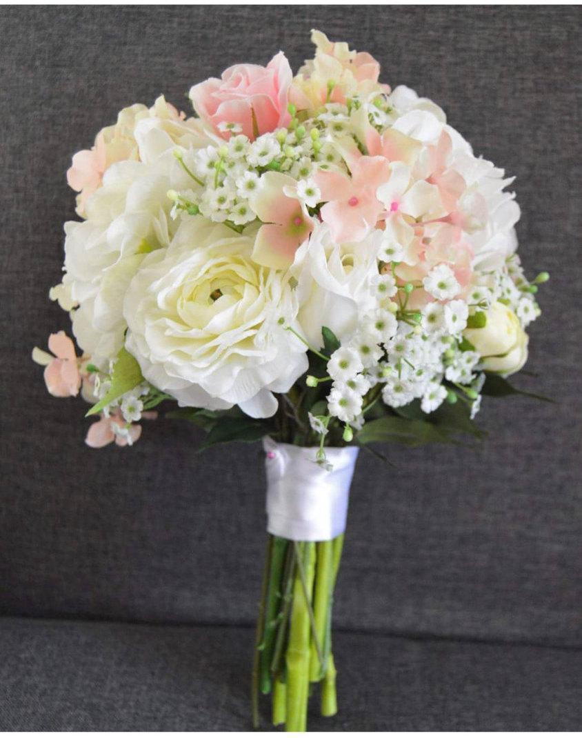 Свадьба - Pink/Cream Hydrangea/Rose Bride's Bouquet