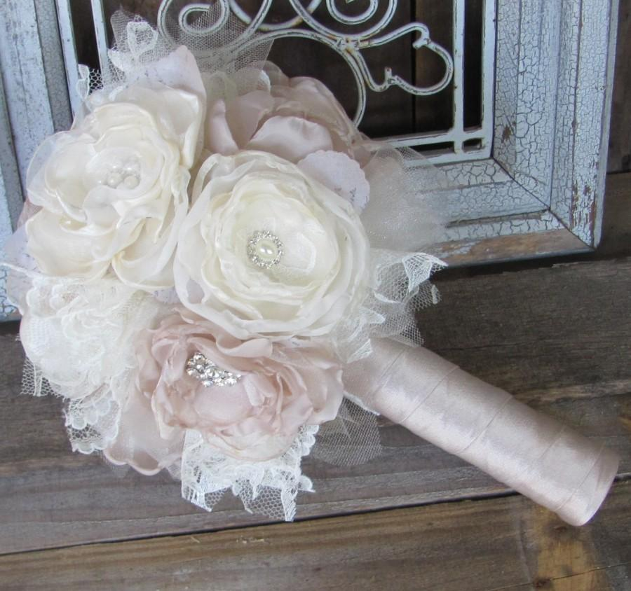 Hochzeit - Fabric Bouquet, Silk Flower Wedding Bouquet, Fabric Brooch Bouquet bridal rhinestone and pearl brooches,champagne and  ivory